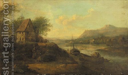 A Rhenish landscape with peasants conversing on a path by a farmhouse with ships moored at a quay by (after) Johann Christian Vollerdt Or Vollaert - Reproduction Oil Painting
