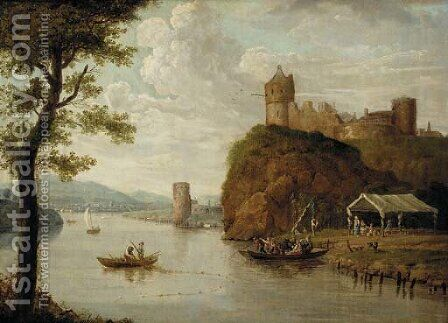 A river landscape with a ferry crossing before a hilltop castle, a town beyond by (after) Johann Christian Vollerdt Or Vollaert - Reproduction Oil Painting