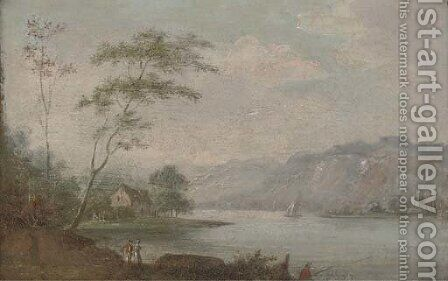 A river landscape with anglers and figures on a river bank, a house beyond by (after) Johann Christian Vollerdt Or Vollaert - Reproduction Oil Painting