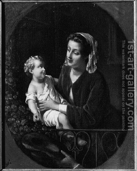 A mother and child on a balcony by (after) Johann Friedrich August Tischbein - Reproduction Oil Painting