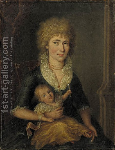 Portrait of a woman with her child on her lap by (after) Johann Friedrich August Tischbein - Reproduction Oil Painting