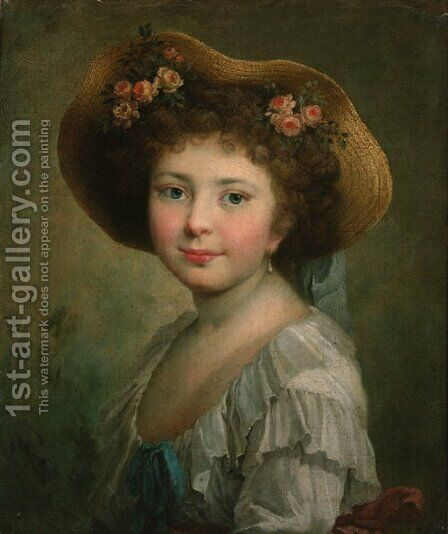 Portrait of a girl by (after)Johann Friedrich August Tischbein - Reproduction Oil Painting