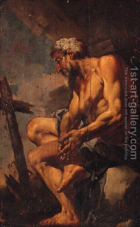 A hermit Saint at prayer by (after) Johann Liss - Reproduction Oil Painting