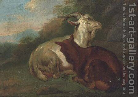 Goats in a landscape by (after) Johann Rudolf Byss - Reproduction Oil Painting