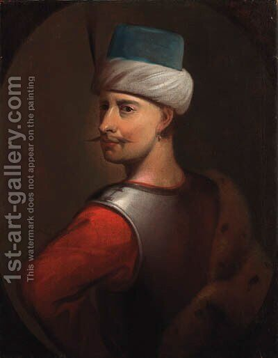 Portrait of a Turk, previously identified as Sultan Sellim III by (after) Johann Zoffany - Reproduction Oil Painting