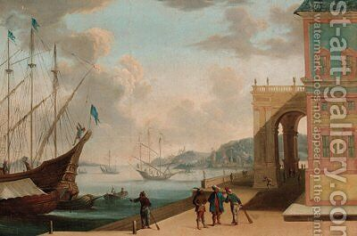 A capriccio of a Mediterranean harbour with Oriental merchants conversing on a quay by (after) Johannes Lingelbach - Reproduction Oil Painting