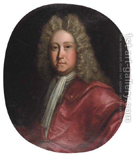 Portrait of William Rawson of Bolling, bust-length, in red robes and white stock by (attr.to) Closterman, Johann - Reproduction Oil Painting