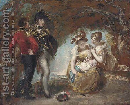 A group of figures in a wood, traditionally identified as General Fisher, Captain Wordsworth, Mary Fisher, Maria Constable and a baby by (after) Constable, John - Reproduction Oil Painting