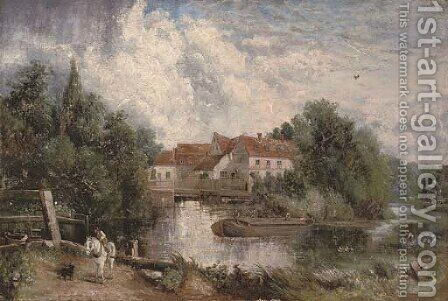 Flatford Mill with a figure on a white horse in the foreground by (after) Constable, John - Reproduction Oil Painting