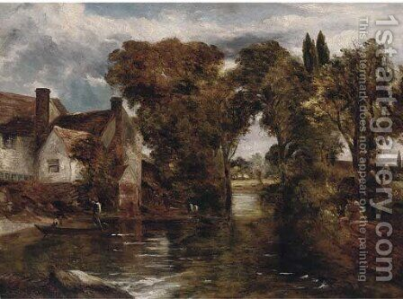 On the Stour by (after) Constable, John - Reproduction Oil Painting