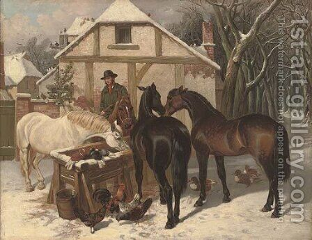 A winter feed by (after) John Frederick Herring - Reproduction Oil Painting