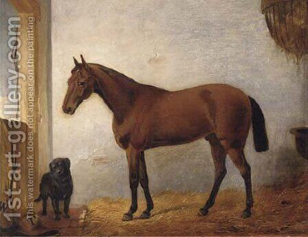 A chestnut hunter with a black labrador in a stable by (after) John Frederick Jnr Herring - Reproduction Oil Painting