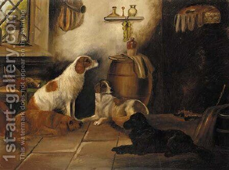 Setters in a larder by (after) John Gifford - Reproduction Oil Painting
