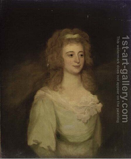 Portrait of Mrs. Denis, bust-length, in a blue dress by (after) Hoppner, John - Reproduction Oil Painting