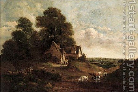 A cattle drover herding his cattle by a cottage, an extensive landscape beyond by (after) John Moore Of Ipswich - Reproduction Oil Painting