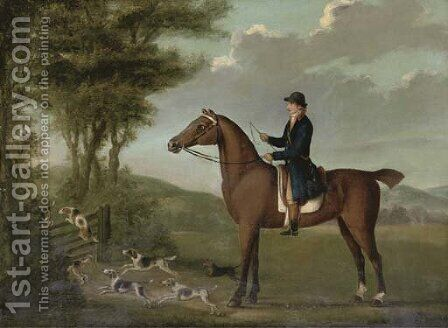 A huntsman on his hunter in an extensive landscape, with hounds jumping a gate by (after) John Nost Sartorius - Reproduction Oil Painting