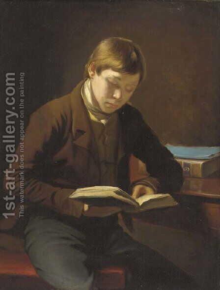 A student reading by (after) John Opie - Reproduction Oil Painting