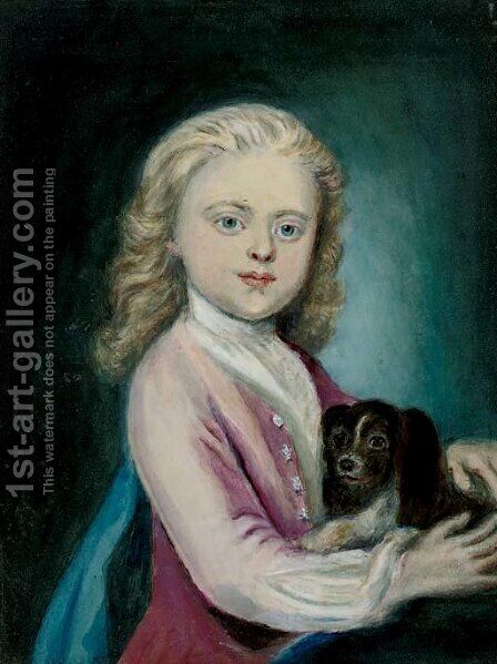 Portrait of 6th Duke of York, half-length, with his dog by (after) Russell, John - Reproduction Oil Painting