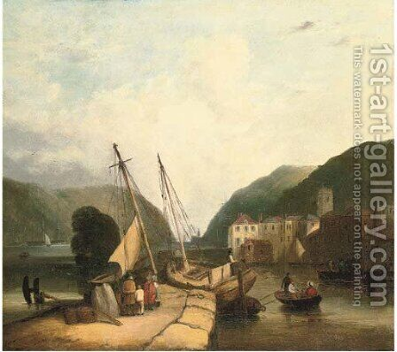 Figures in a harbour, loading supplies by (after) John Sell Cotman - Reproduction Oil Painting