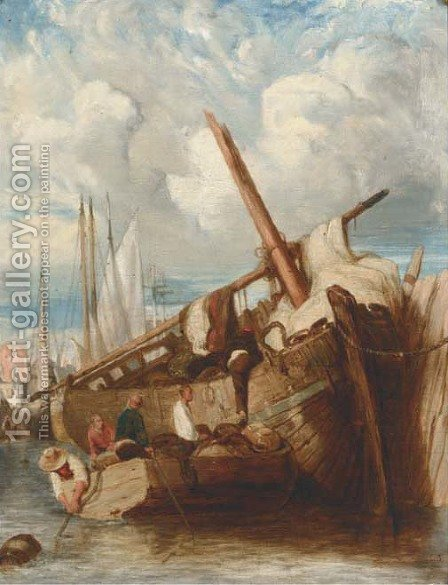 Unloading the barge by (after) John Sell Cotman - Reproduction Oil Painting