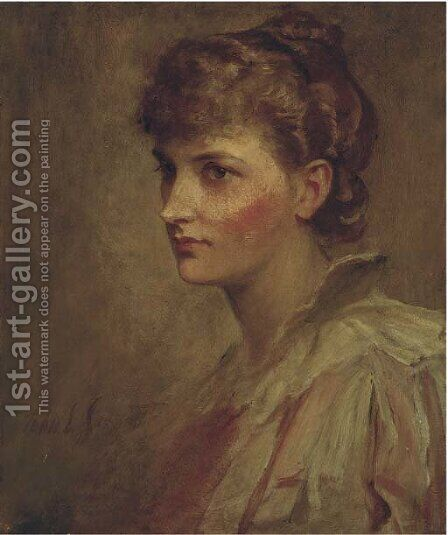 Portrait of Miss Hunter by (after) John Sargeant Noble - Reproduction Oil Painting