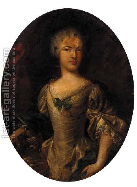 Portrait of a lady, half-length, in a cream dress and green wrap by (after) John Vanderbank - Reproduction Oil Painting