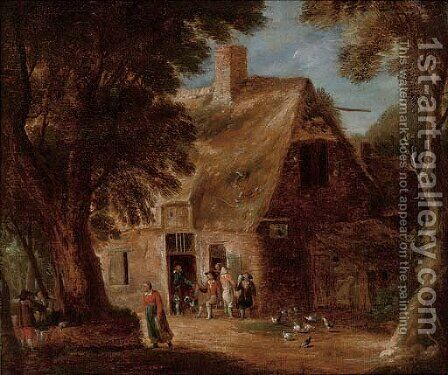 A wooded landscape with boors drinking by a cottage by (after) Joos Cornelisz. Droochsloot - Reproduction Oil Painting