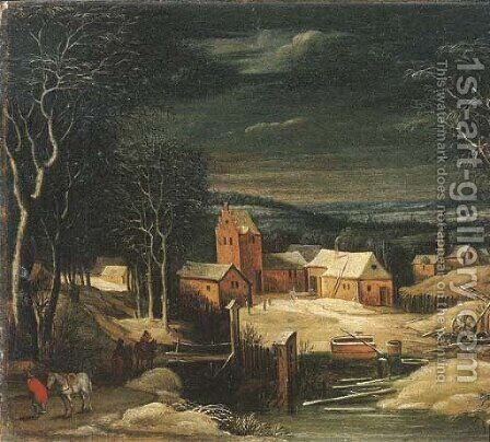 A winter river landscape with travellers on a track, a village beyond by (after) Joos Or Josse De, The Younger Momper - Reproduction Oil Painting