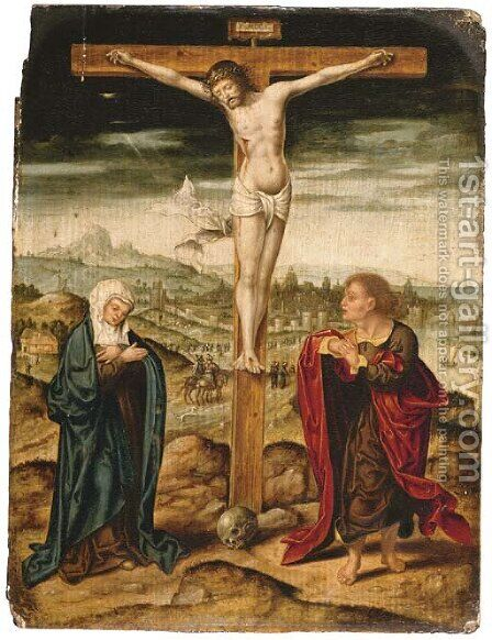 The Crucifixion with the Virgin and Saint John the Evangelist by (after) Cleve, Joos van - Reproduction Oil Painting