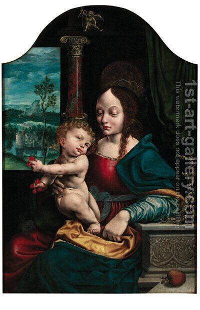 The Madonna of the Cherries by (after) Cleve, Joos van - Reproduction Oil Painting