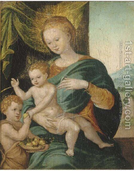 The Virgin and Child with Saint John The Baptist by (after) Cleve, Joos van - Reproduction Oil Painting