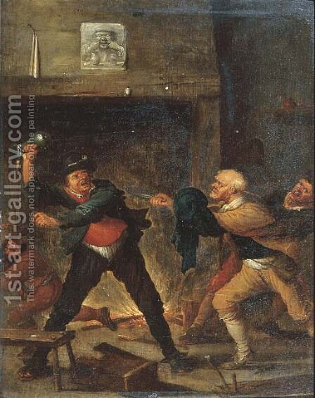 Boors fighting in an inn by (after) Joos Van Craesbeeck - Reproduction Oil Painting
