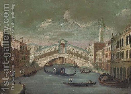 The Grand Canal, looking towards to the Rialto Bridge, Venice by (after) Joseph, The Younger Heintz - Reproduction Oil Painting