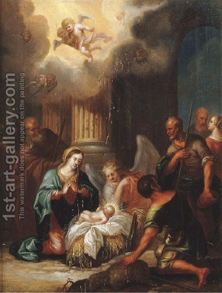 The Adoration of the shepherds by (after) Joseph The Elder Heintz - Reproduction Oil Painting