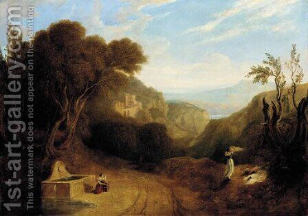 An italianate landscape with figures on a path by (after) Joseph Mallord William Turner - Reproduction Oil Painting