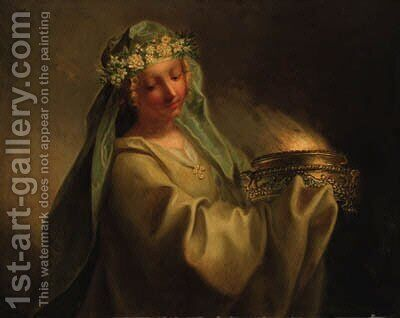 A vestal virgin by (after) Joseph-Marie Vien - Reproduction Oil Painting