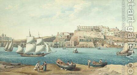 The Grand Harbour, Valetta by (after) Joseph Schranz - Reproduction Oil Painting