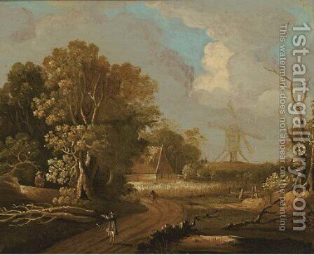 A wooded landscape with travellers on a track, a windmill beyond by (after) Joseph Van Bredael - Reproduction Oil Painting