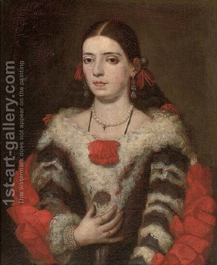 Portrait of a lady by (after) Juan Carreno De Miranda - Reproduction Oil Painting