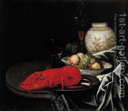 A lobster and a knife on a pewter plate by (after) Jurriaen Van Streeck - Reproduction Oil Painting
