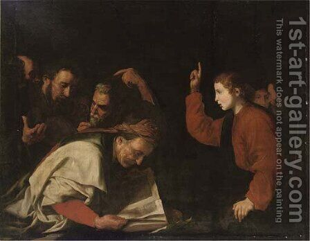 Christ among the Doctors by (after) Jusepe De Ribera - Reproduction Oil Painting