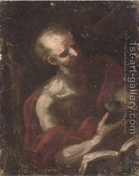 Saint Jerome in his Study 2 by (after) Jusepe De Ribera - Reproduction Oil Painting