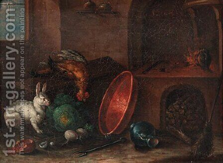 A rabbit near a cabbage, a copper pan and other utensils in a kitchen by (after) Justus Juncker - Reproduction Oil Painting