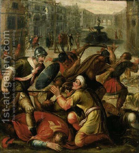 Footsoldiers invading a city by (after) Karel Van Mander I - Reproduction Oil Painting