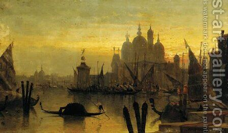 Santa Maria della Salute and la Dogana, Venice - a capriccio by (after) Karl Kauffmann - Reproduction Oil Painting