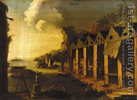 An Italianate landscape with a shipyard by (after) Leonardo Coccorante - Reproduction Oil Painting
