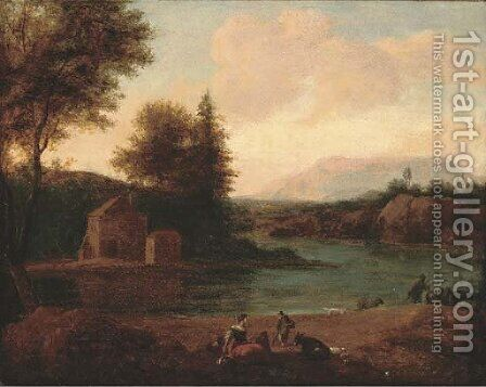 A river landscape with figures resting on the bank by (after) Lodewyck Van Ludick - Reproduction Oil Painting