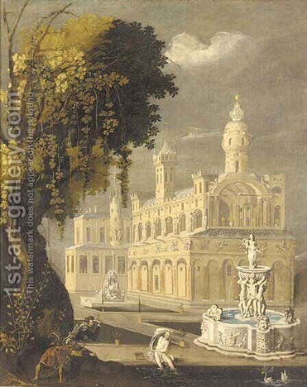 Suzanna and the Elders before an architectural capriccio of a palace and an ornamental fountain by (after) Lodovico Pozzoserrato (see Toeput, Lodewijk) - Reproduction Oil Painting