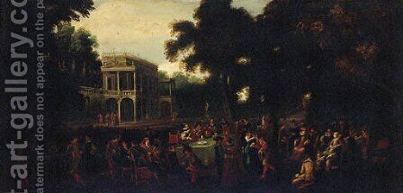 A musical party in a garden by a palace by (after) Louis De Caullery - Reproduction Oil Painting