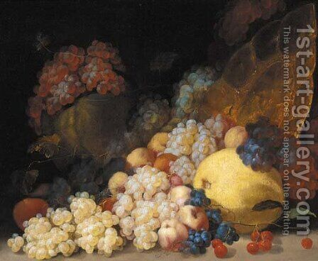 Grapes, cherries, peaches, a melon, a lemon and a silver gilt platter by (after) Luca Forte - Reproduction Oil Painting